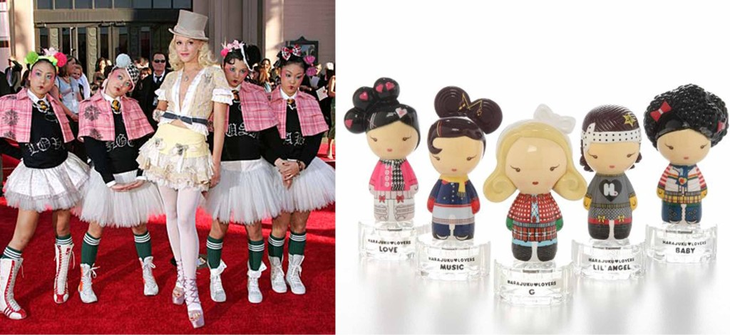 Gwen Stefani and her Harajuku Girls (left) and Stefani's product merchandise inspired by the Harajuku Girls