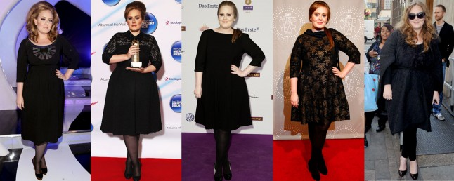 Adele often wears black dresses with sleeves on red carpets and on stage.